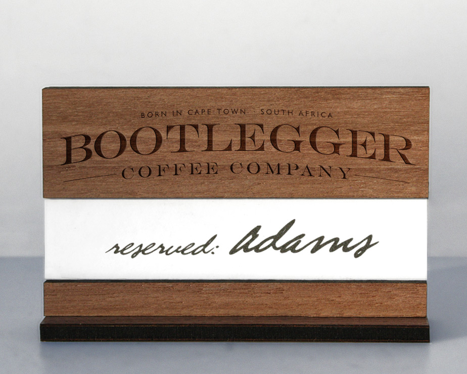 """Table Reserved"" sign in wood, for your restaurant table top signage"