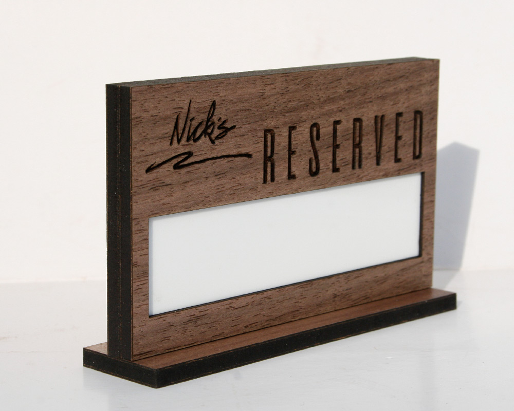Restaurant Reserved Sign with white board for easy write-on, wipe-off name additions.