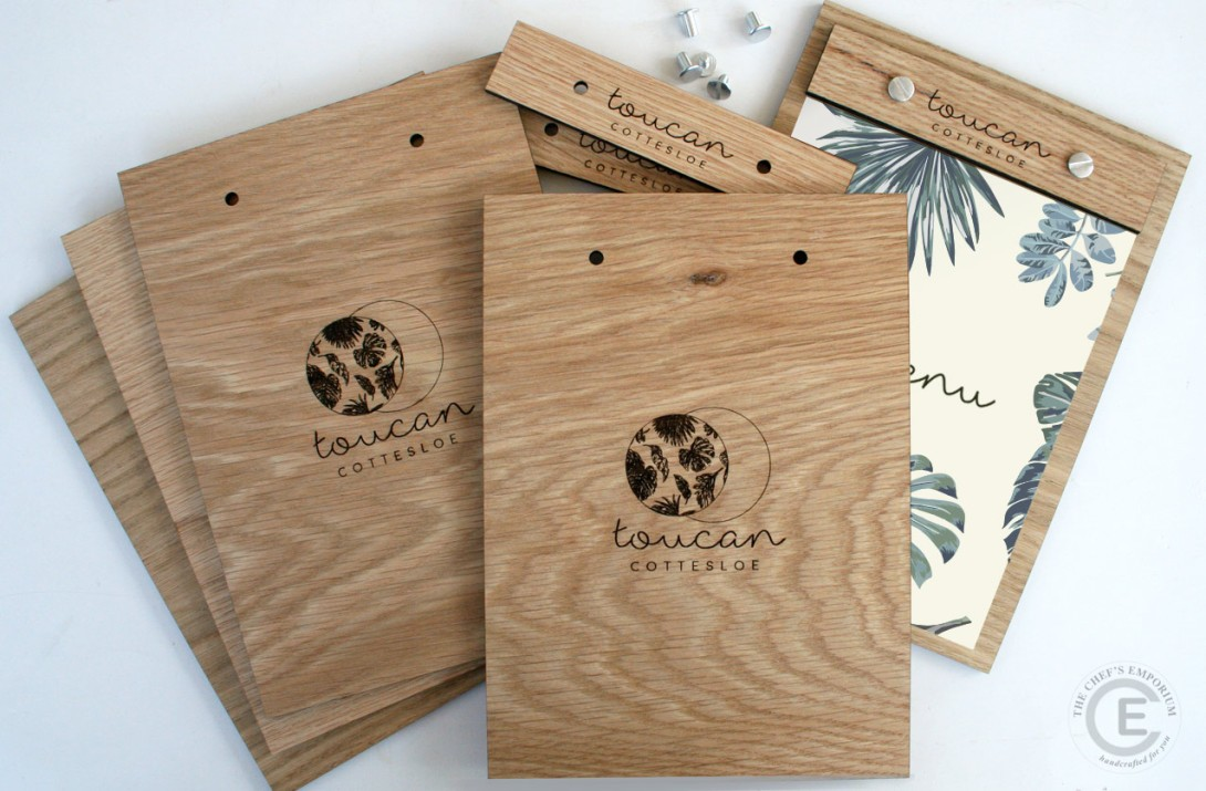 Wood Menu Holder - custom engraved with your restaurant logo