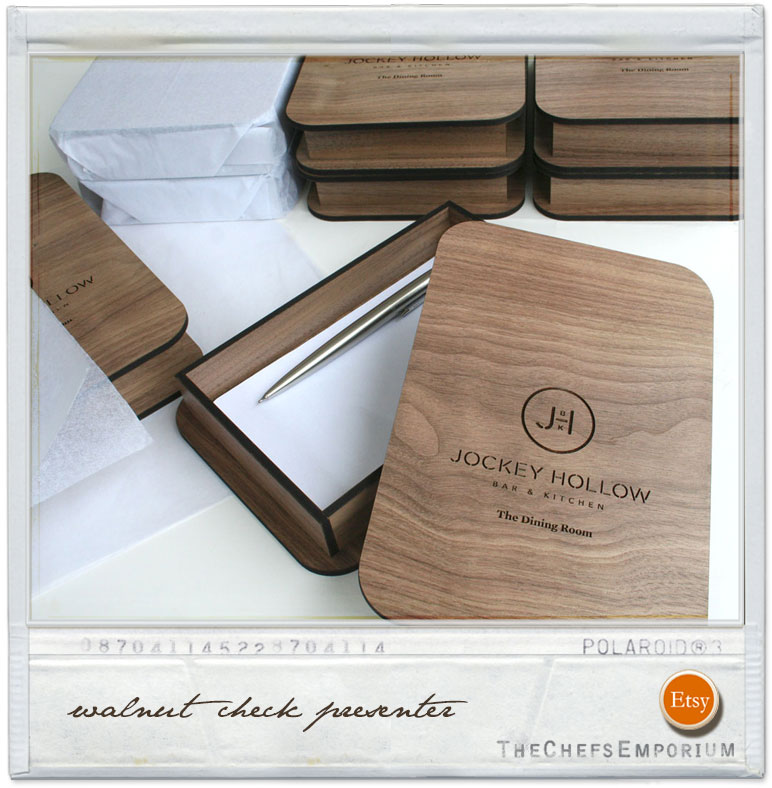 Wooden Box Check Presenter handcrafted from walnut and custom engraved with your logo.