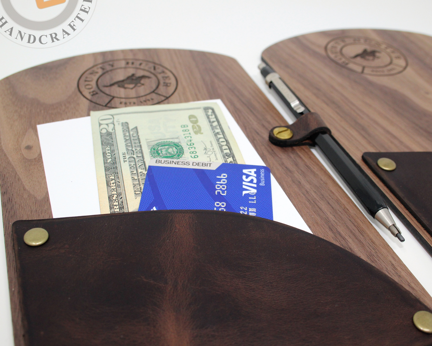 Custom crafted wood and leather restaurant bill presenter.