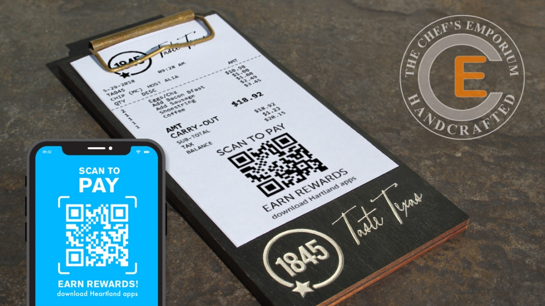 Restaurant and hospitality industry check presentation.  Mini clipboard for QR code scan-able bill payment